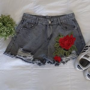 Pants - High waisted embroidered distressed jean shorts